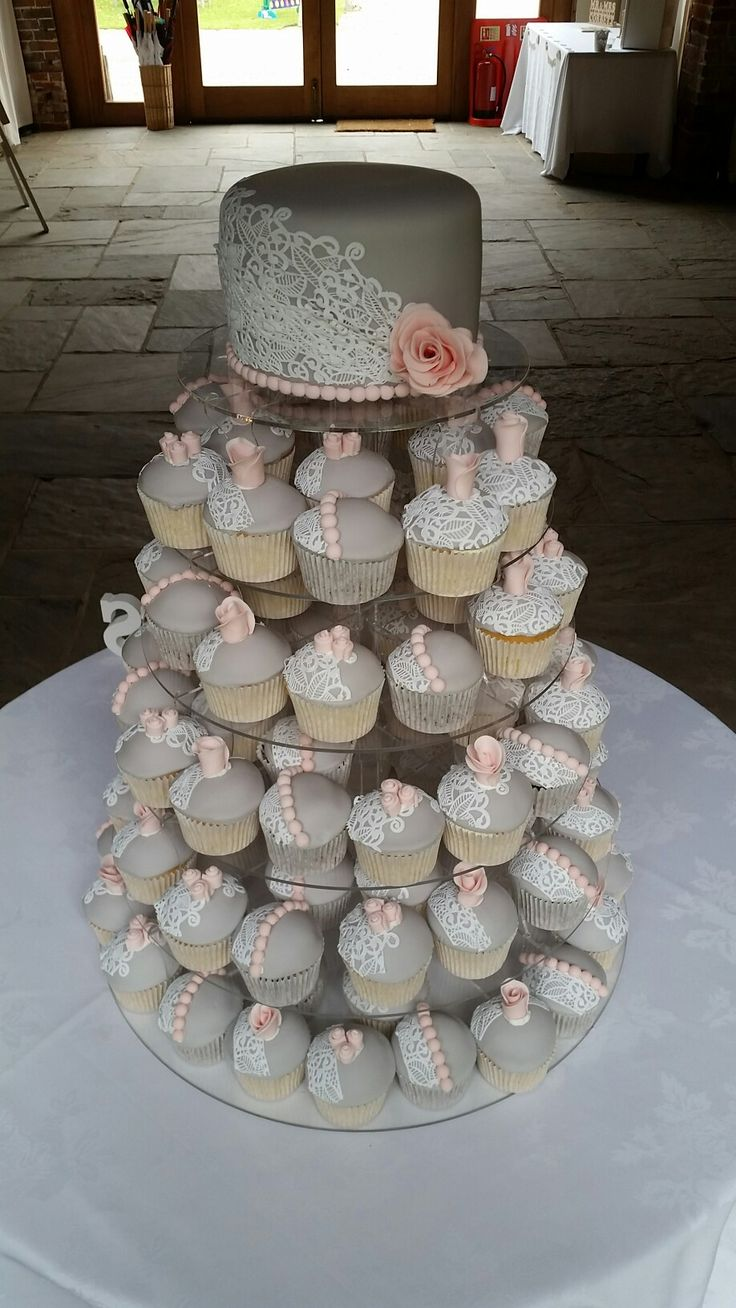 Dusky Pink and Grey Wedding Cupcakes