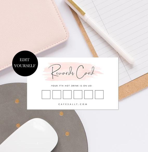 Printable Loyalty Card Download Beauty Loyalty Card Template Rewards Card Nail Salon Loyalty Card Girly Business Templates Feminine 108 005 Loyalty Card Template Loyalty Card Loyalty Card Design