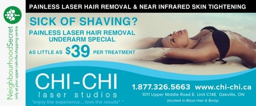 Chi-Chi Laser Studios April offer, download your coupon at http://neighbourhoodsecret.net #Oakville #ShopLocal