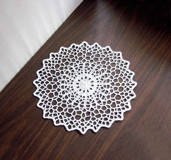 Geometric Table Decor Crochet Doily White Lace by NutmegCottage