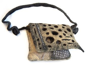 Wearable art women handbag,exclusiv designer messenger bag from Paris, French Felt Design