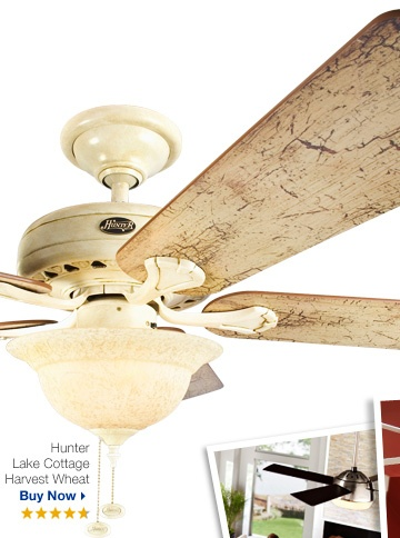 Hunter Lake Cottage Harvest Wheat Ceiling Fan. What an idea-paint up and give our old deck fan some rustic character