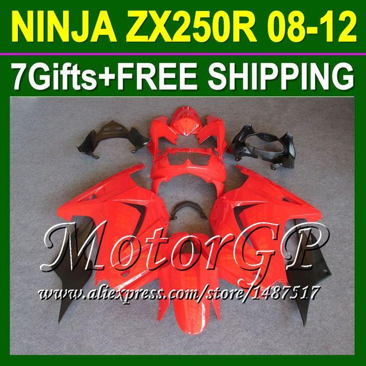 Купить товар7 подарки + все красный для Kawasaki ниндзя 250r 2008 2009 2010 16 # 114 ZX250R ZX 250 ZX250 08 09 10 11 12 блеск красный зализа в категории Щитки и художественная формовкана AliExpress.