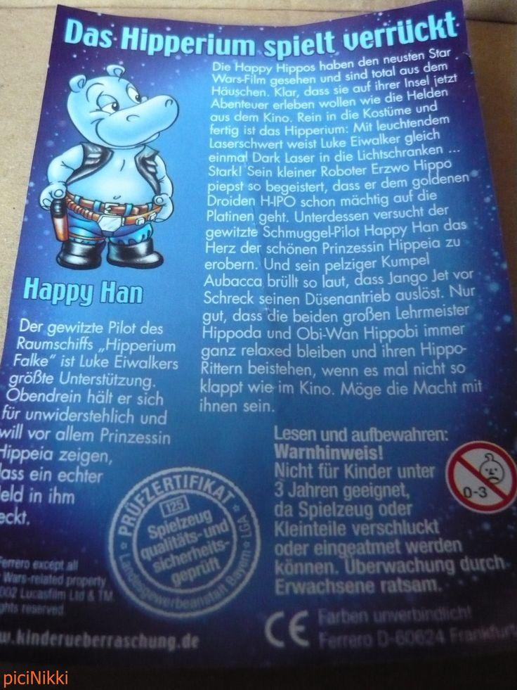 No. 32 | víziló | hippo | Happy Hippo | Kinder | Happy Han | Star Wars