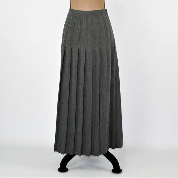 8903db27a4 90s Pleated Skirt Long Gray Skirt Women Large Maxi Skirt Size 14 ...