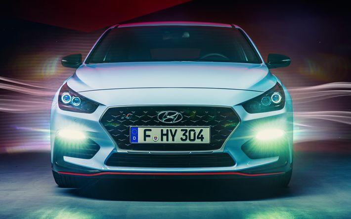 Descargar fondos de pantalla 4K, Hyundai i30 N, faros de 2018 coches, coches coreanos de Hyundai
