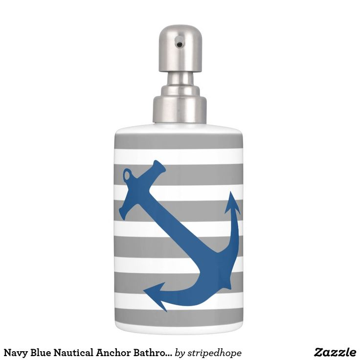 Navy Blue Nautical Anchor Bathroom Accessory Set
