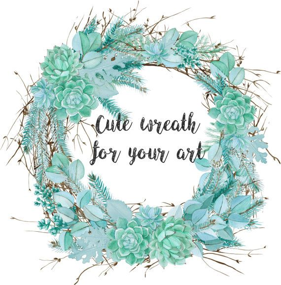 Watercolor Succulent Winter Wreath by FancyWatercolor on Etsy