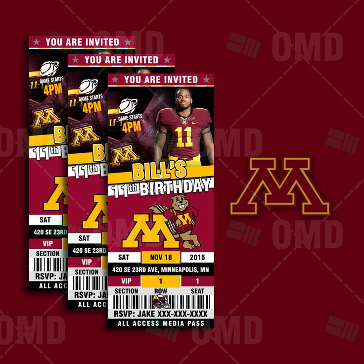 2.5x6 Minnesota Golden Gophers  Sports Party Invitation, Sports Tickets Invites, UM Football Birthday Theme Party Template by sportsinvites