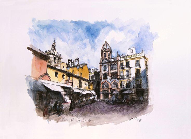 Plaza del Pan, Sevilla. Acuarela y Tinta. 407x297mm. Papel canson 300gr