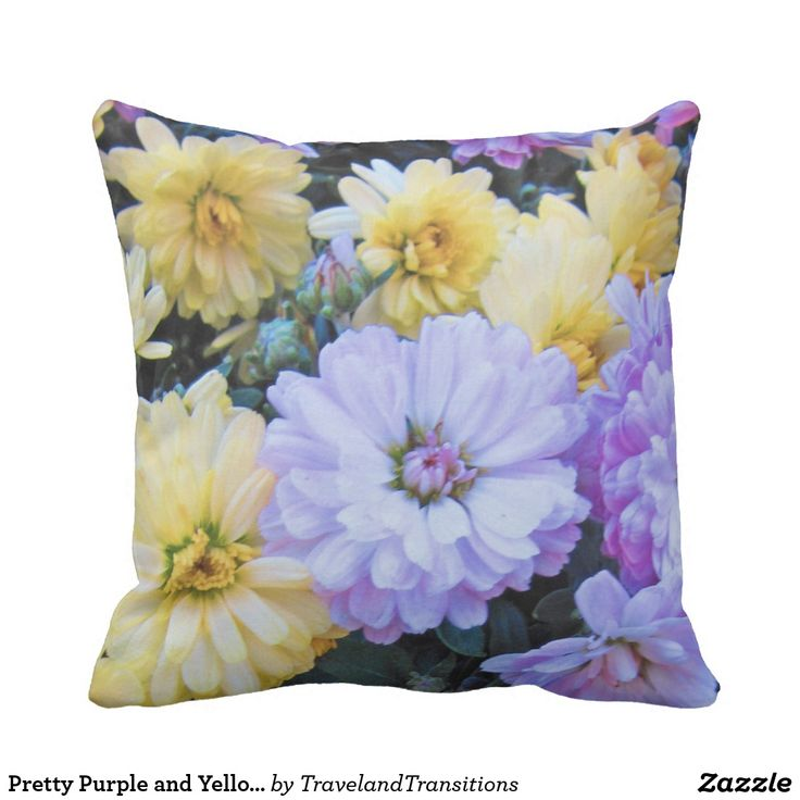 Pretty Purple and Yellow Summer Flowers Throw Pillow
