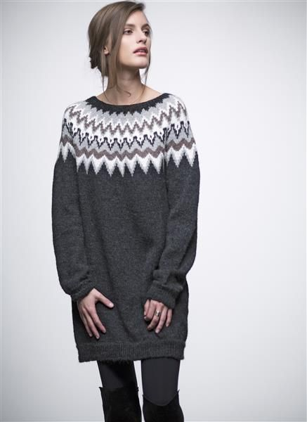 1503: Modell 12 Lang genser med rundt bærestykke #strikk #knit #fashion #alpakka