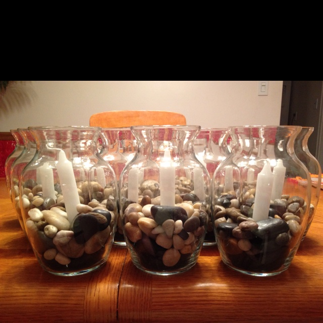 Centerpieces for a th birthday party write rocks on
