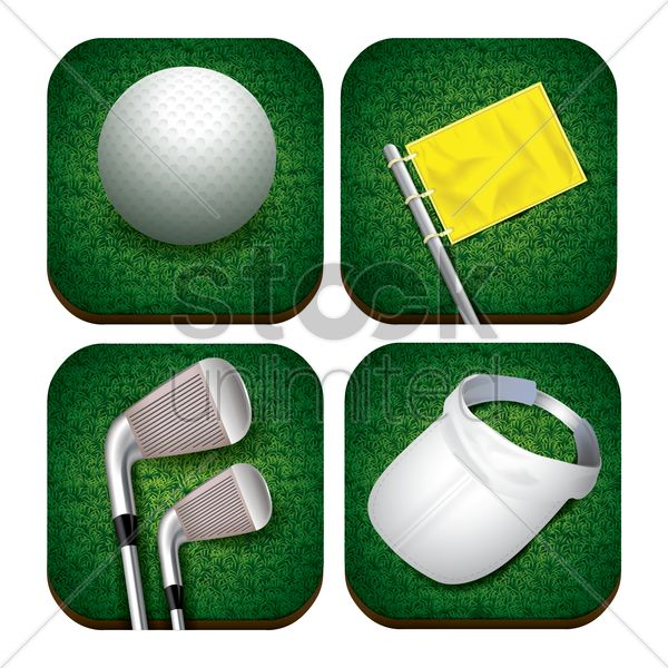 golf themed icons Stock Vector, realistic icon artwork.