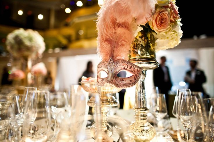 mask table setting silvered glass & feathered plumes