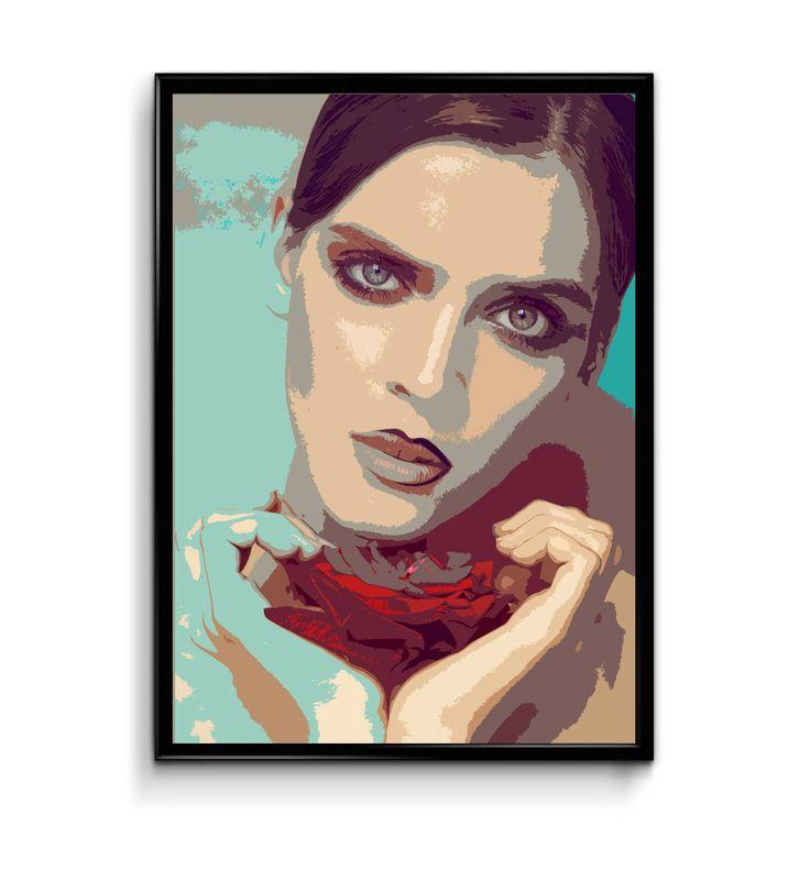 Digital Print Women With Rose Flower, Printable Fashion Wall Art, Digital Download Fashion Portrait, Digital Poster, Fashion Poster by InvitationsPrintByV on Etsy