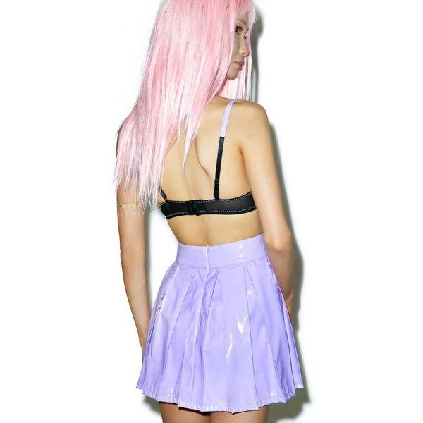 X Dolls Kill Princess Pastel Vinyl Skirt (1.855 UYU) ❤ liked on Polyvore featuring skirts, purple skirt, baby doll skirt, babydoll skirt, pastel skirts and vinyl skirting