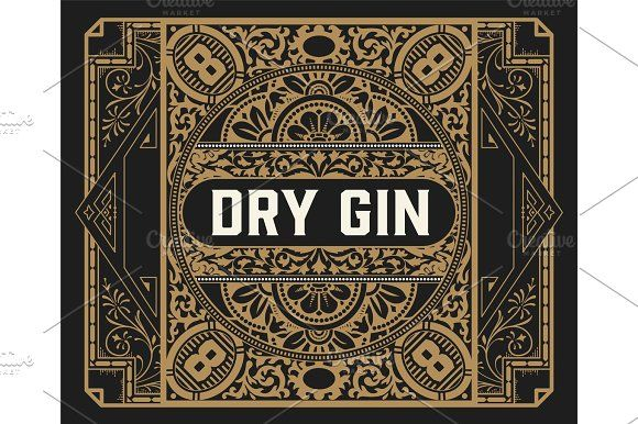Gin label with floral frame by OneVectorStock on @creativemarket