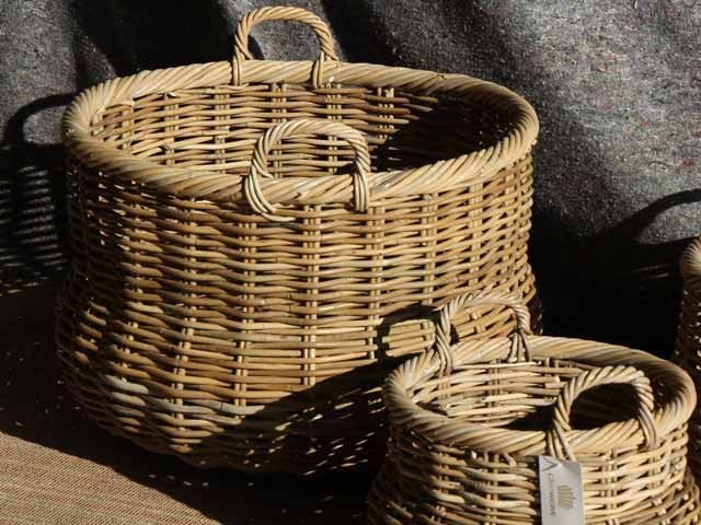 Manor Round Baskets With Ear Handles #basket #logs #stove