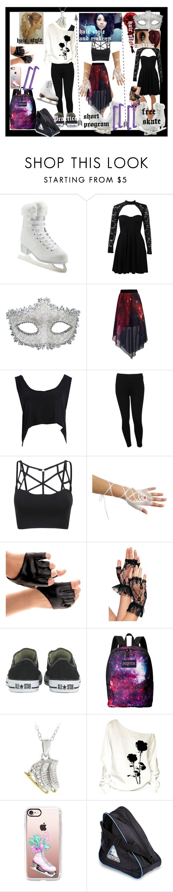 """""""Yuri! on ice OC"""" by thin-mint on Polyvore featuring Artistique, Boohoo, Masquerade, M&Co, Converse, JanSport, DB Designs, Riedell, Casetify and iceskating"""