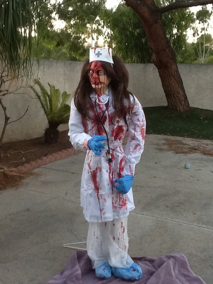 scary halloween nurse prop diy finished i used a store bought costume and wig head - Scary Halloween Stuff