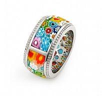 Sterling Silver.925 Multi Color Diamond Shape Millefiori Segmented Ring By Alan…