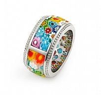 Sterling Silver.925 Multi Color Diamond Shape Millefiori Segmented Ring By Alan…