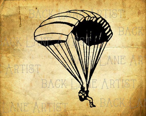 Vintage parachutiste Clipart Lineart Illustration téléchargement immédiat JPG PNG Digi ligne Art Image dessin L308