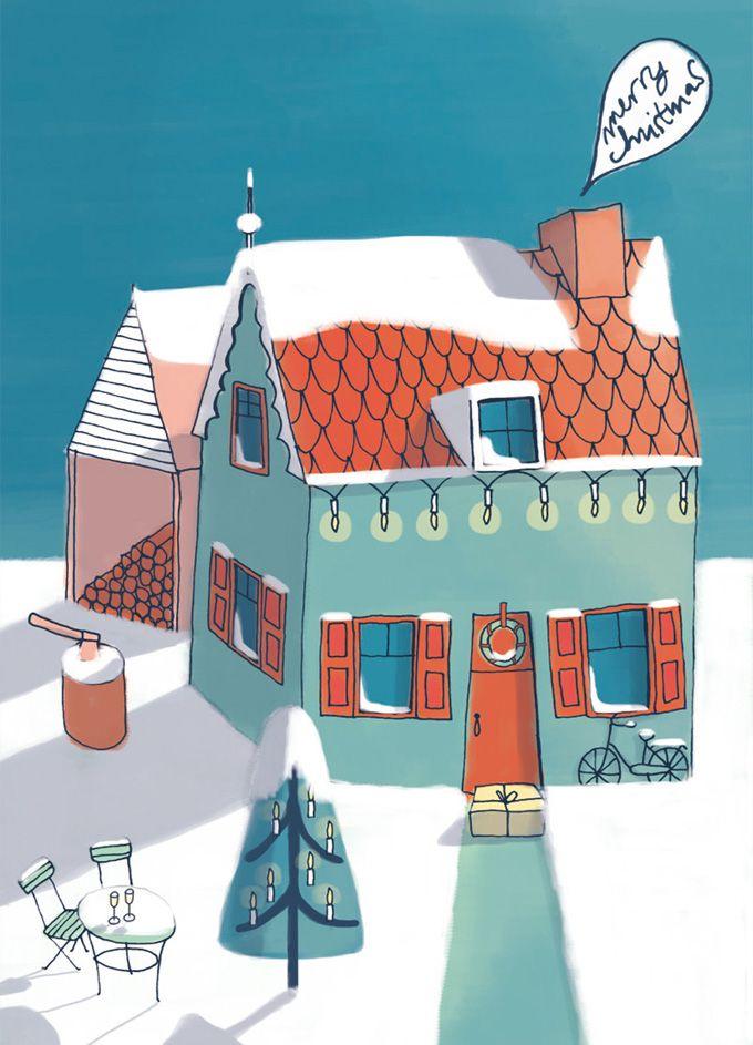 Christmastcard illustrated by @keskiviikko2; seen on HappyMakersBlog.com