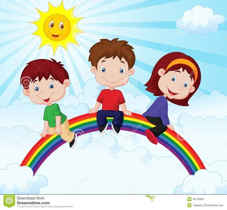 desenhos-animados-felizes-das-crianas-que-sentam-se-no-arco-ris-45743855.jpg (1300×1202)