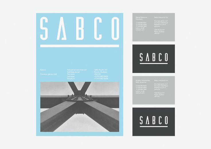 Visual identity for Sabco, a civil engineering firm in Ripon, Quebec.