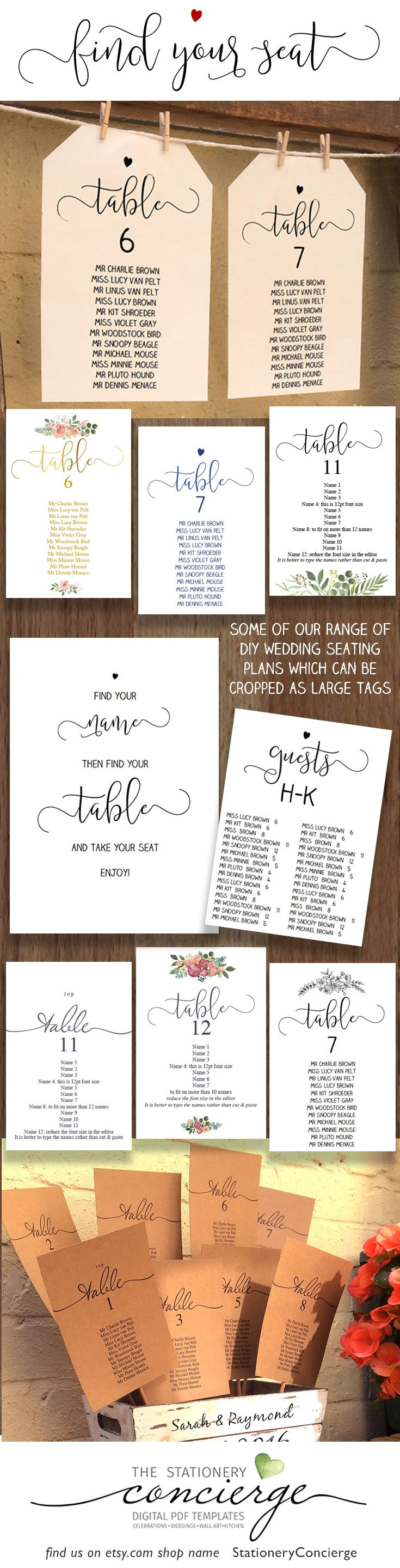 "A range of wedding seating plans to instantly download, edit & print. Most come in a choice of 5""x7"" or 6""x4"" cards which can also be cropped as large tags. includes gold versions a nd designs with our own unique illustrations & font."