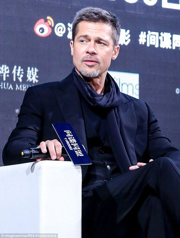 Back and better than ever: Brad Pitt, 52, appeared to be in better spirits than ever as he attended a screening for new war drama Allied in Shanghai, China on Monday