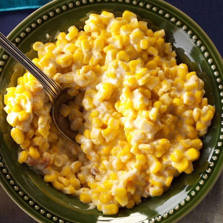 Cheesy Slow-Cooked Corn Recipe -My family really likes this creamy, cheesy side dish—and it's so easy to make. Even those who usually don't eat much corn will ask for a second helping. —Mary Ann Truitt, Wichita, Kansas