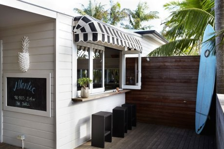 Surfside patio and cabana srtiped awning