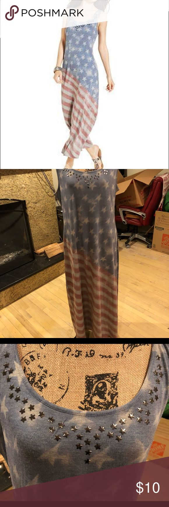 """Studded flag print maxi Style & co XL American flag print maxi  Studded detail at neckline  Worn once    Chest 19"""" across Style & Co Dresses Maxi"""