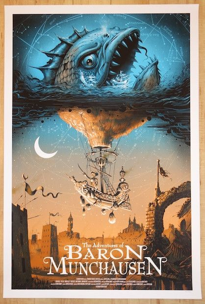 "The Adventures of Baron Munchausen - silkscreen movie poster (click image for more detail) Artist: Jeff Soto Venue: N/A Location: N/A Date: 2014 Edition: 275; numbered only Size: 24"" x 36"" Condition:"