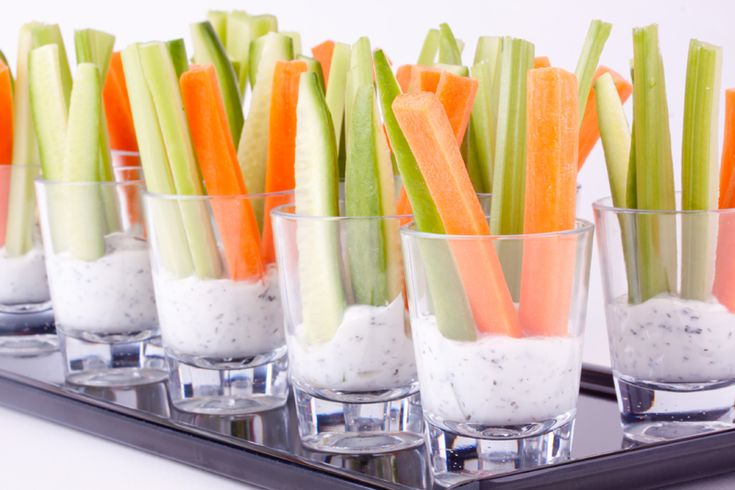Vegetable Appetizers: You just can't go wrong with fresh crisp veggies and a delicious creamy vegetable dip, served individually, where double dipping is allowed - and encouraged!