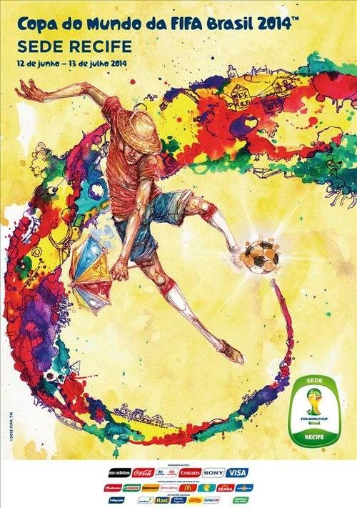 Poster Copa del Mundo Brasil FIFA 2014 - De las ciudades: Recife