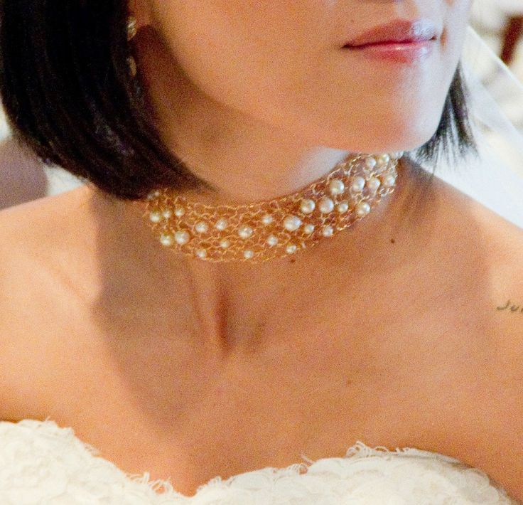 delicate gold choker necklace - Google Search