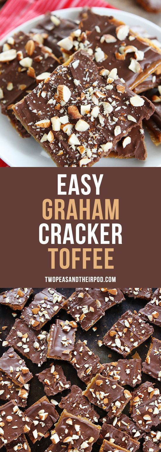 Easy Graham Cracker Toffee is the perfect holiday treat! You only need 5 ingredients to make this delicious and addicting toffee! Make it for holiday parties and gift giving! #holidays #toffee #Christmas #5ingredient #chocolate #candy