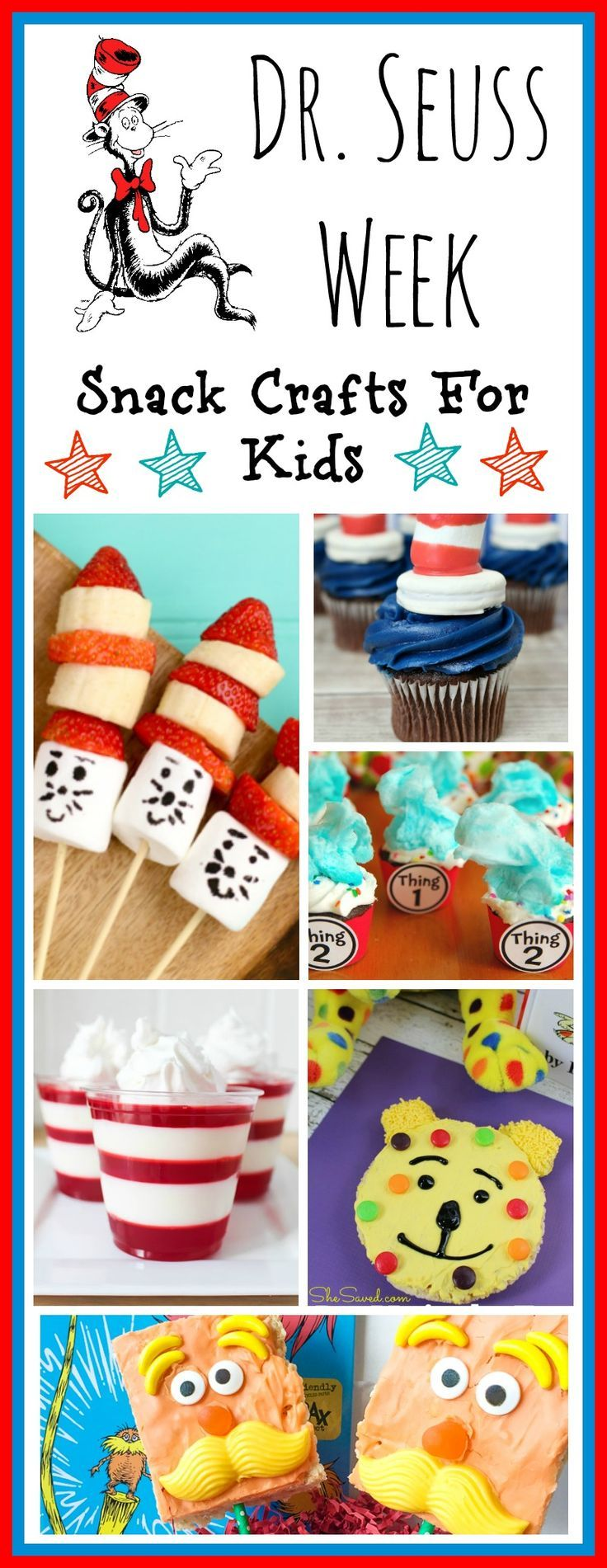 Dr. Seuss Snack Crafts for Kids - a great way to kick off Read Across America week! These snacks are inspired by our favorite stories written by our beloved Dr. Seuss!