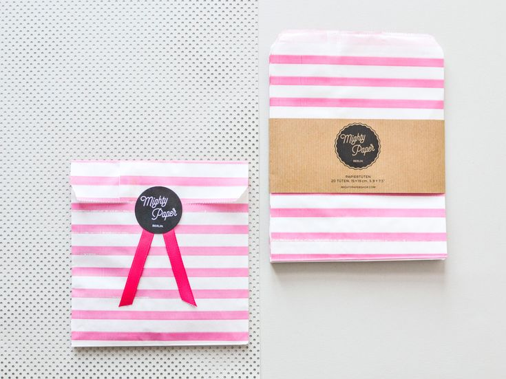 20 Papiertüten Kraftpapier Tüten Candy Bags Geschenktüten gestreift pink weiß Flachbeutel Beutel V004 by MightyPaperShop on Etsy