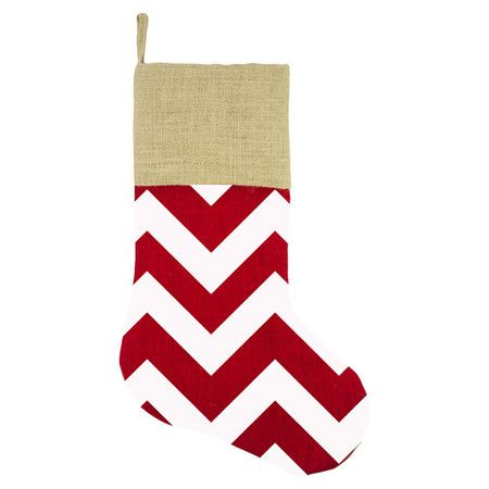 Hang this charming burlap stocking on the mantel or for Hang stockings staircase