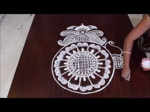 simple and easy rangoli design II free hand kolam II big rangoli - YouTube