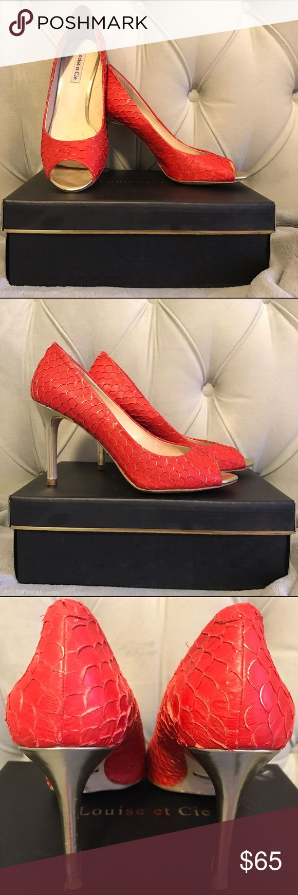Louise et Cie Lo-Scorpio Peep Toe Gorgeous open toe pumps. Red with golden heel and golden accent on the fish scale texture. Left shoe has scuff at the bottom of the heel. With Box. Louise et Cie Shoes Heels