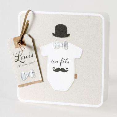 """Faire-part Naissance """"Chapeau melon et... moustache"""" 584-109"""