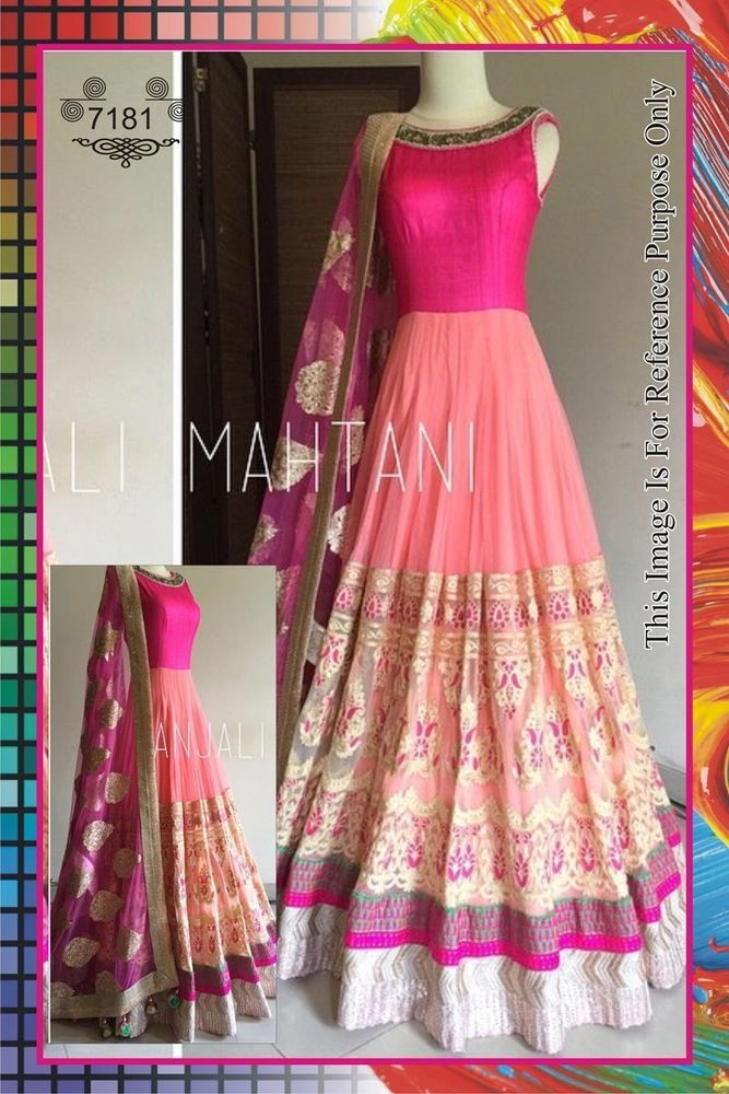 anarkali gown Designer Indian Latest Bollywood Bridal Embroidered Eid free ship #Handmade #SalwarKameez