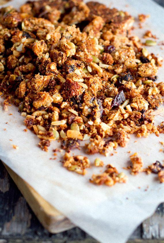 Paleo friendly, gluten free, grain free granola recipe.