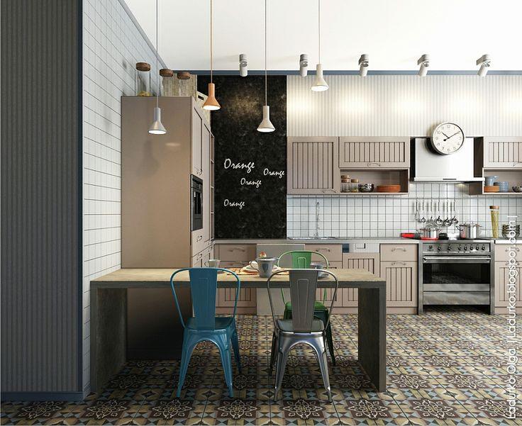 Внешне кухня выполнена в тех же тонах, что и остальные комнаты первого этажа: светлые, серо-зеленые краски, на полу — пестрая керамическая плитка. Освещение устроено так, чтобы в любой функциональной зоне было достаточно света даже в темное время суток. Часть стены выкрашена специальной черной краской, по которой можно писать мелом как по грифельной доске. Здесь можно записывать рецепты или оставлять послания домашним.